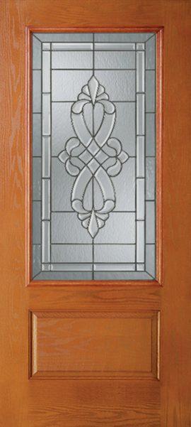 Oak Grain 1 Panel 3/4 Lite with Windsor glass