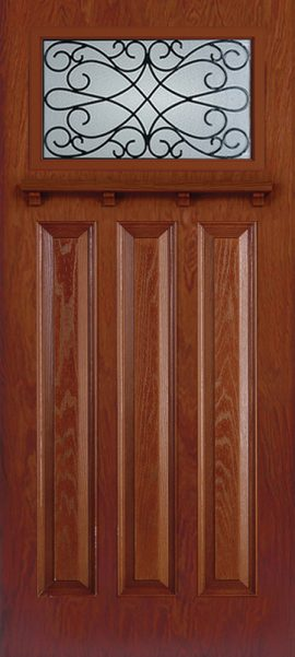 Oak Grain 3 Panel Vintage Craftsman with Wyngate glass
